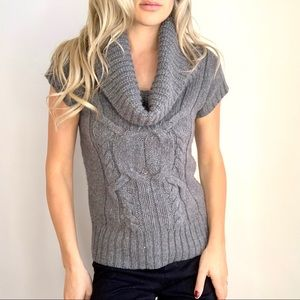 Grey Cable Knit Cowl Neck Short Sleeve Sweater S